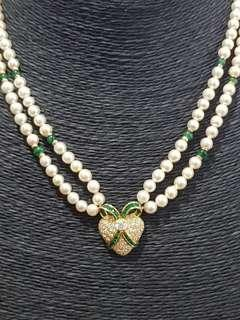 🚚 18K Yellow Gold Emerald Diamond Pearl Necklace