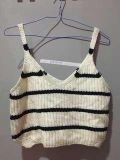 New stripe knit crop top