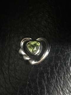 🚚 純銀愛心橄欖石墜飾