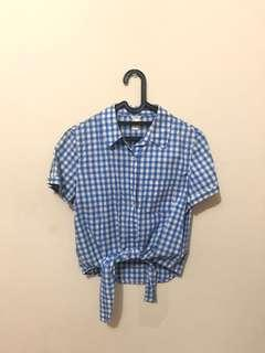 FOREVER21 blue checkered top