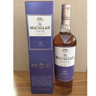 Macallan 18YO Fine Oak Single Malt 700ml 麥卡倫 舊版 有盒 蘇格蘭 威士忌 收藏 送禮