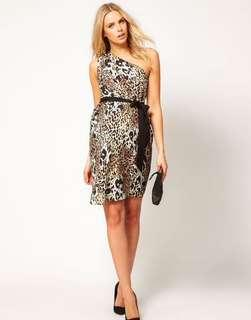 Size 8 One Shoulder Leopard Patterned Dress