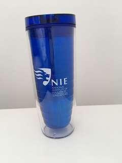 Double walled plastic water bottle