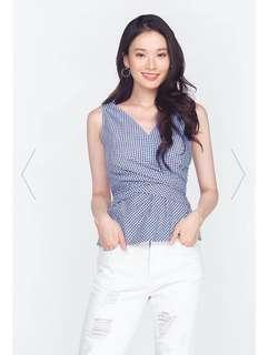 Katie Gingham Bow Top