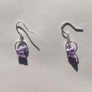 Y2K purple butterfly O ring earrings