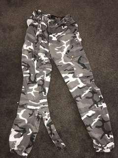 never used, grey camo pants