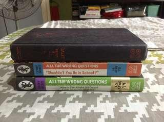All the Wrong Questions books 1, 3, and 4 by Lemony Snicket