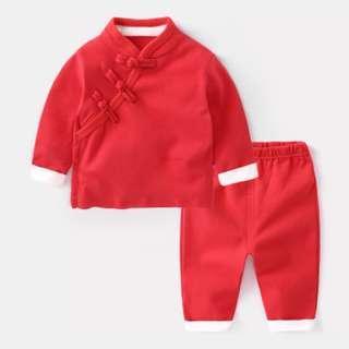 🚚 中國風 過年服飾 過年套裝  拜年服  過年服  套裝  男寶女寶都可穿  純棉材質 尺碼100