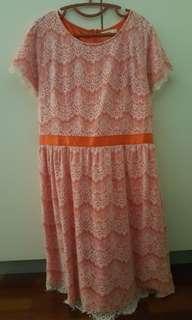 (REDUCED) Max Tino Lace Orange Dress