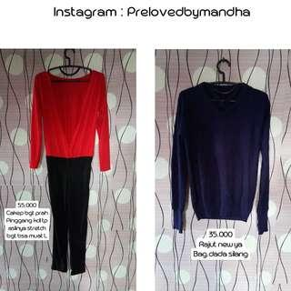 Turun harga preloved sweater rajut / jumpsuit