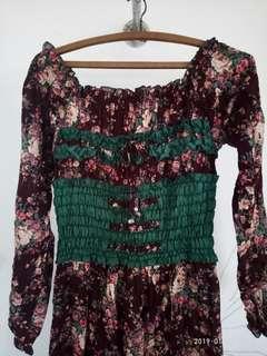 Gamis bunga maxi dress #maudompet