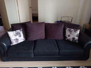 Black Brown 3-seater sofa