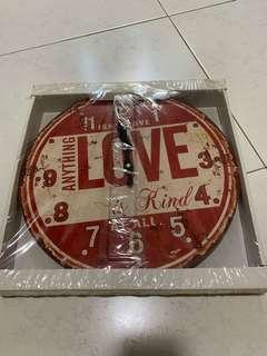 Vintage Wall Clock - Red Love