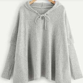😍灰色胸前綁帶連帽線衫👍