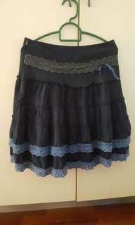 (SALE) Navy Blue Midi Skirt