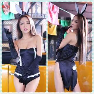 Muimui [ Ready Stock ] Woman Cute Bunny Wear Rabbit Uniform Black MGG61