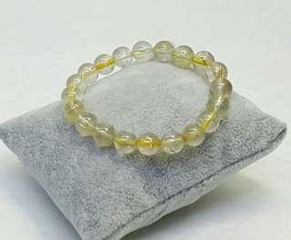 Golden Rutilated Quartz Elastic Bracelet #cnyga