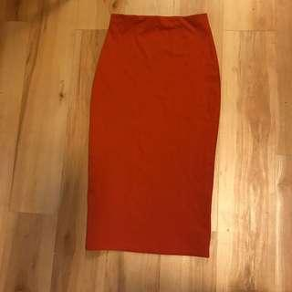 Burnt Orange Pencil Midi Bodycon Skirt