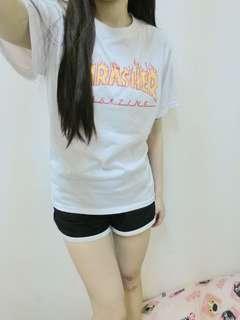 🚚 現貨☼火焰短袖字母T 白色T恤 素T