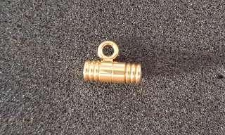 Gold plated necklace cord end. (Screw type)