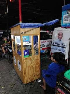 Gerobak / booth kayu jati belanda untuk usaha makanan / minuman