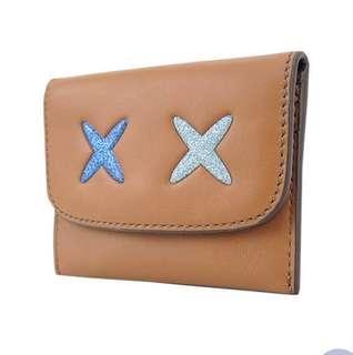 全新 coach X_X表情皮革翻蓋名片卡夾
