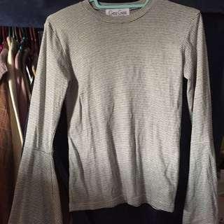 正韓 韓製條紋喇叭袖上衣 #一百均價