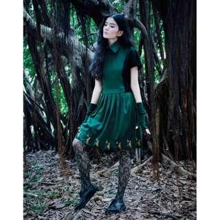 (全新) Envol Avec Ning 綠色植物領尖尖洋裝 拼接絲絨毛料百褶洋裝 邱美寧設計師品牌 手工製