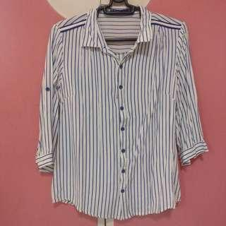 Blue and White Stripes 3/4 Sleeves