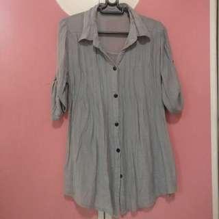Long Gray Button Down Blouse