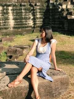 MANGO Blue and White Striped Pinafore Linen Dress