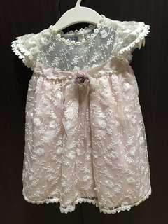 Baptismal handmade white and light pink dress 12 months unused