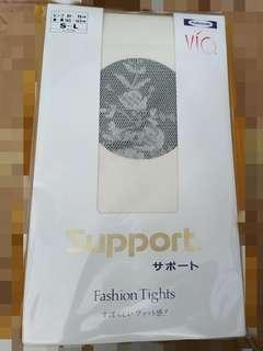 女裝薄網襪褲(有花紋)米白色 (一盒5對) Made in japan