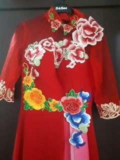 Embroidery Red Dress