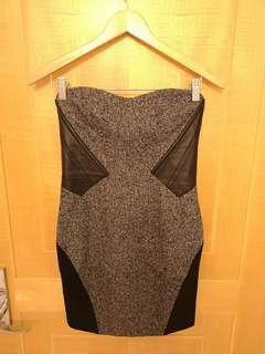 BeBe leather and tweed party dress