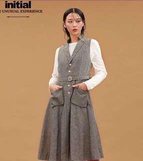 (徵求)品牌Initial 18年款灰色背心全身裙1碼