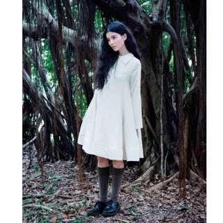 (全新) Envol Avec Ning 白色植物裙襬搖搖洋裝 拼接透袖排釦A字波浪洋裝 邱美寧設計師品牌 手工製