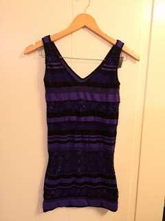 BeBe stretchy purple & black dress