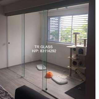 Frameless Sliding Door with Fix Panel (Pet Room)