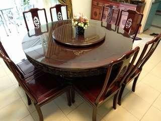 Rosewood round table Dining Set with 8 chairs