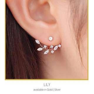 Rhinestone Leaf Ear Jacket Earrings