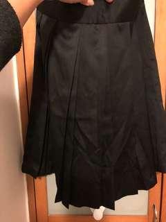 Wanko 上班百褶黑色斯文裙