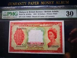 Malaya QEII 1953 $10 PMG 30