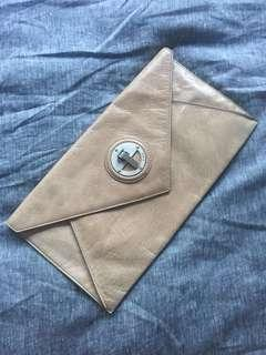 Mimco envelope clutch large sand leather