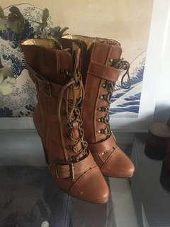 Mimco tan leather boots size 38