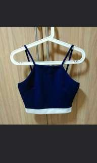 🚚 Cny sales! Navy blue halter top sleeveless top crop top