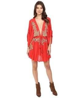 Free people pineapple embroidered dress