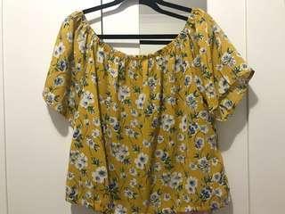 Temt Floral off the shoulder mustard top