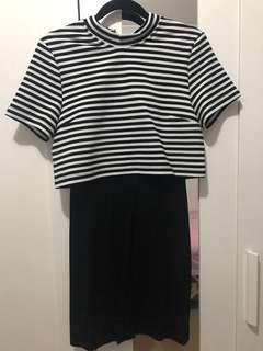 FOREVER 21 Black and White Striped top dress
