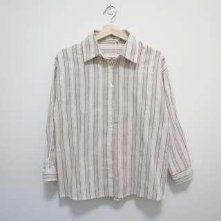 🚚 全新 百搭條紋棉麻襯衫